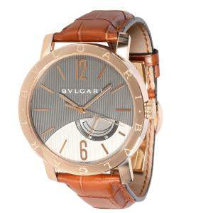 Bulgari Gray 18K Rose Gold Bvlgari BBP41GL Men's Wristwatch 41 MM
