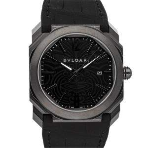 Bvlgari Black Blacksteel Octo Solotempo Maori Tattoo BGO 41 S Men's Wristwatch 41 MM