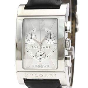 Bvlgari Silver Stainless Steel Rettangolo RTC49S Chronograph Men's Wristwatch 49 MM
