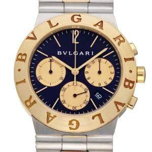 ساعة يد رجالية بلغاري CH35SG  دياغونو ذهب أصفر 18 وستانلس ستيل سوداء 35 مم