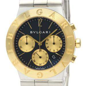 Bvlgari Black 18K Yellow Gold Stainless Steel Diagono CH35SG Men's Wristwatch 35 MM