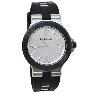 Bvlgari Silver Stainless Steel & Ceramic Diagono 102252 Automatic Men's Wristwatch 42 mm