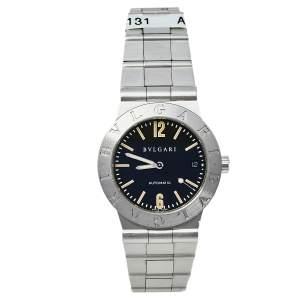 Bvlgari Black Stainless Steel LC 35 S Diagono Automatic Men's Wristwatch 35 MM