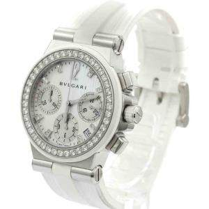Bvlgari MOP Diamonds Stainless Steel Diagono Sport Chronograph DG35SVCH Men's Wristwatch 35 MM