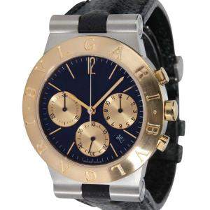 Bulgari Black 18K Yellow Gold And Stainless Steel Diagono CH 35 SG Men's Wristwatch 36 MM