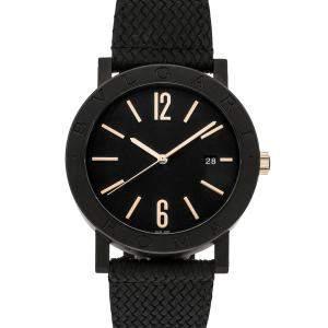Bvlgari Black Carbon Treated Stainless Steel Bvlgari-Bvlgari Cities Special Edition Roma 103219 Men's Wristwatch 41 MM