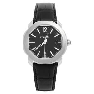Bvlgari Black Stainless Steel Leather Octo Roma OC41S  Men's Wristwatch 41 mm