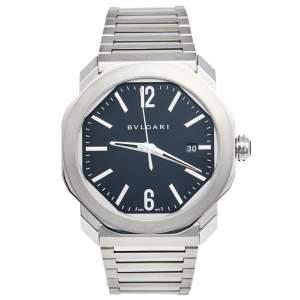 Bvlgari Black Stainless Steel Octo Roma OC41S Men's Wristwatch 41 mm