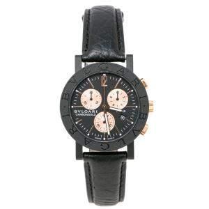 ساعة يد رجالية بلغاري BB 38 CL CH باريس ذهب وردي إصدار محدود أسود فحمي 38 مم
