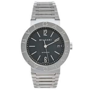 ساعة يد رجالية بلغاري بلغاري BB 38 SS أوتو ستانلس ستيل سوداء 38 مم