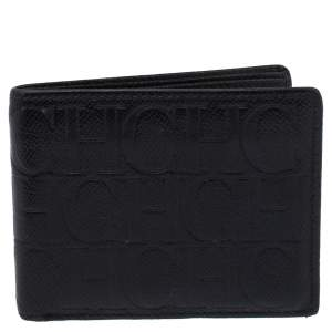 Carolina Herrera Black Monogram Leather Bi-Fold Wallet