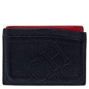 Carolina Herrera Navy Blue/Red Leather Sport Card Holder
