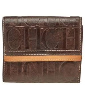 Carolina Herrera Brown Monogram Embossed Leather Trifold Wallet