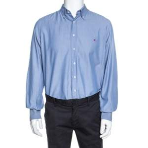 Carolina Herrera Blue Cotton Long Sleeve Shirt M