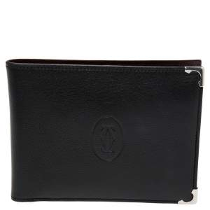 Cartier Black Leather Must De Cartier Bifold Wallet