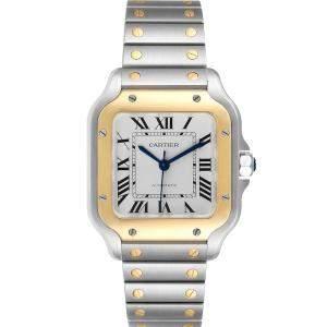 Cartier Silver 18K Yellow Gold And Stainless Steel Santos Galbee WSSA0010 Men's Wristwatch 35 x 42 MM