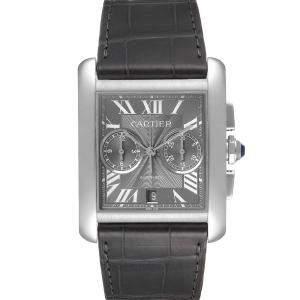 ساعة يد رجالية كارتييه تانك MC كرونوغراف W5330008 ستانلس ستيل رصاصية 34 x 44 مم