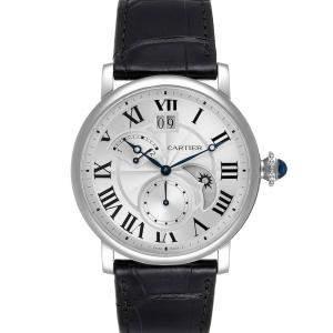 ساعة يد رجالية كارتييه ريتروغريد GMT تايم زون W1556368 ستانلس ستيل فضية 42مم