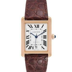 Cartier Silver 18k Rose Gold Tank Solo XL W5200026 Men's Wristwatch 31 x 40 MM