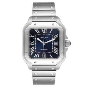 Cartier Blue Stainless Steel Santos WSSA0030 Men's Wristwatch 39 MM