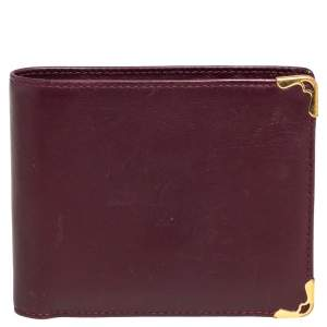 Cartier Maroon Leather Must De Cartier 6CC Bifold Wallet
