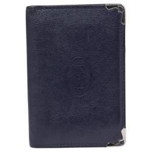 Cartier Navy Blue Leather Must De Cartier Card Holder