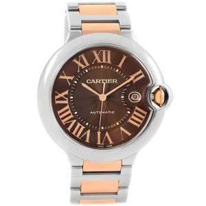 Cartier Chocolate Brown Stainless Steel Ballon Bleu W6920032 Men's Wristwatch 42MM