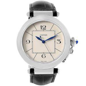 Cartier Silver Stainless Steel Pasha W3107255 Men's Wristwatch 42MM