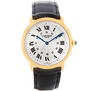 Cartier Silver 18K Yellow Gold Ronde Louis Privee Mechanical Men's Wristwatch 33MM