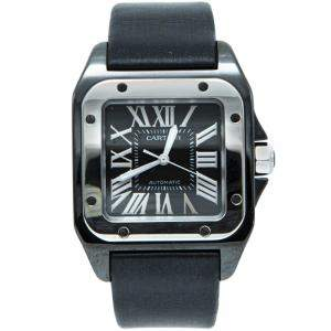 Cartier Black Ceramic Santos 100 Satin Strap Men'S Watch 33X44MM