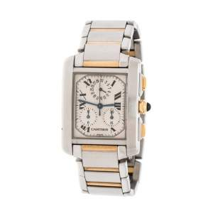 Cartier Cream 18K Yellow Gold Stainless Steel Tank Francaise Chronoflex 2303 Men's Wristwatch 28 mm