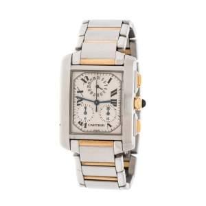 ساعة يد رجالية كارتييه تانك فرانيسايز كرونوفليكس 2303 ذهب أصفر عيار 18 و ستانلس ستيل كريمي 28 مم