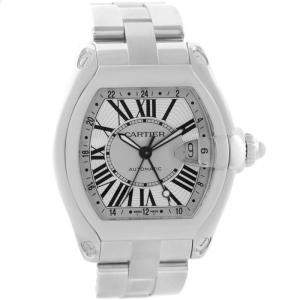 Cartier Silver Stainless Steel Roadster GMT W62032X6 Men's Wristwatch 48x43MM