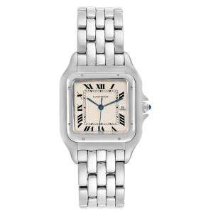 Cartier Silver Stainless Steel Panthere Jumbo W25032P5 Men's Wristwatch 29MM