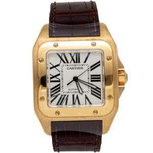 Cartier White Santos 100 18K Yellow Gold & Leather Automatic Men'S Watch 43MM