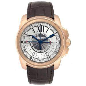 Cartier Slate 18K Rose Gold and Leather Calibre Central Chronograph W7100004 Men's Wristwatch 45MM