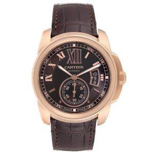 Cartier Brown 18K Rose Gold and Leather Calibre W7100007 Men's Wristwatch 42MM
