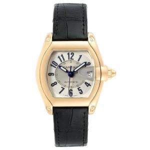 Cartier Silver 18K Yellow Gold Roadster W62005V2 Men's Wristwatch 37x44MM