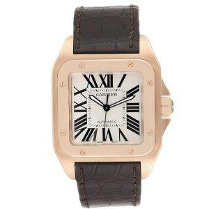 Cartier Silver 18K Rose Gold and Leather Santos 100 XL W20095Y1 Men's Wristwatch 38MM