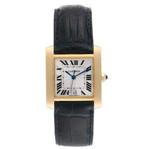Cartier Silver 18K Yellow Gold and Leather Tank Francaise W5000156 Men's Wristwatch 28x32MM