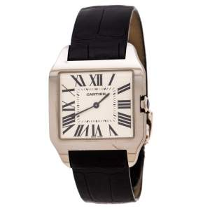 Cartier Cream 18K White Gold Leather Santos Dumont 2651 Men's Wristwatch 35 mm