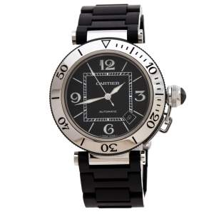 Cartier Black Stainless Steel Rubber Pasha de Cartier 2790 Men's Wristwatch 40.50 mm