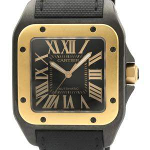 Cartier Black 18K Pink Gold And Stainless Steel Santos 100 Lm W2020009 Men's Wristwatch 38 MM