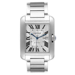 Cartier Silver Stainless Steel Tank Anglaise XL W5310008 Men's Wristwatch 47x36 MM