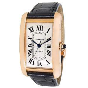 Cartier White 18K Rose Gold and Alligator Leather Tank Americaine W2609856 Men's Wristwatch 31MM