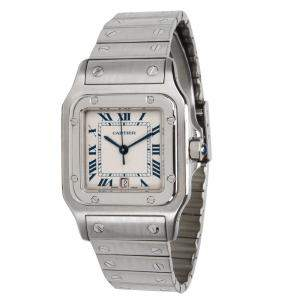 Cartier Grey Stainless Steel Santos Galbee W20060D6 Men's Wristwatch 29MM