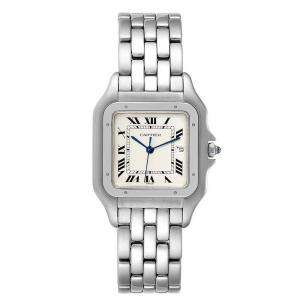 Cartier Silver Stainless Steel Panthere Jumbo W25032P5 Men's Wristwatch 29 MM