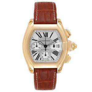 Cartier Silver 18K Yellow Gold Roadster Chronograph W62021Y3 Men's Wristwatch 47 x 43 MM