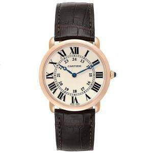 Cartier Silver 18K Rose Gold Ronde Louis W6800251 Men's Wristwatch 36 MM