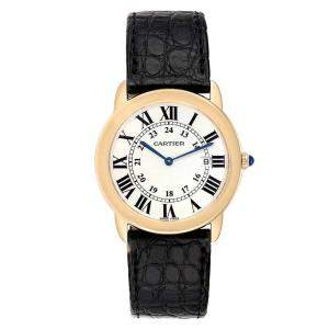 Cartier Silver 18K Yellow Gold Ronde Solo W6700455 Men's Wristwatch 36 MM